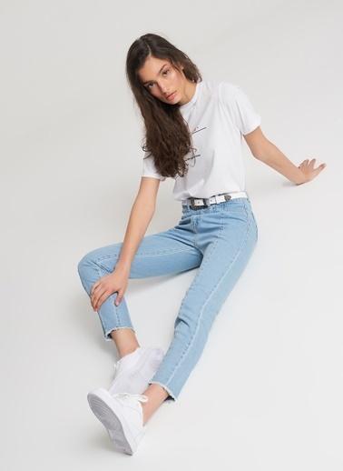 Pi π Dikiş Detaylı Jean Pantolon Mavi